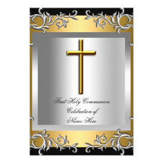 Boy Girl First Holy Communion Silver Gold Custom Invitations