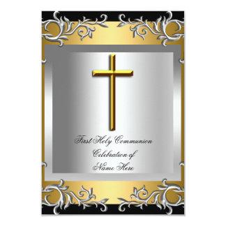 Boy Girl First Holy Communion Silver Gold Custom Invitations