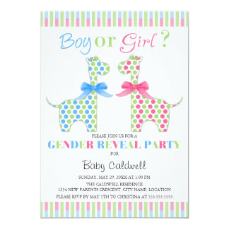 "Boy Girl Giraffe Gender Reveal Party 5"" X 7"" Invitation Card"