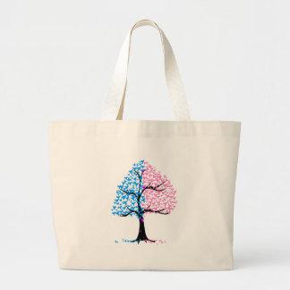 Boy Girl Hearts Tree Large Tote Bag