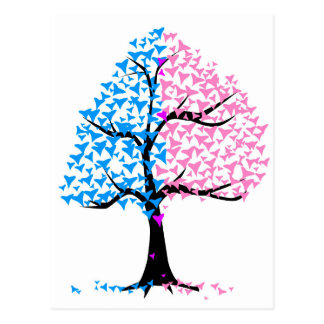 Boy Girl Hearts Tree Postcard