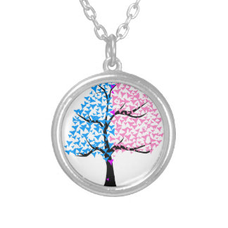 Boy Girl Hearts Tree Silver Plated Necklace