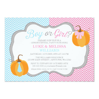 Boy Girl Pumpkins Chevron Fall Gender Reveal Party Card
