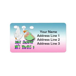 Boy & Girl Twins 2 -Stork Baby Shower Address Labe Label