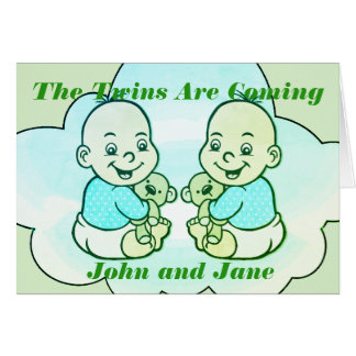 Boy & Girl Twins Are Coming Baby Shower Card