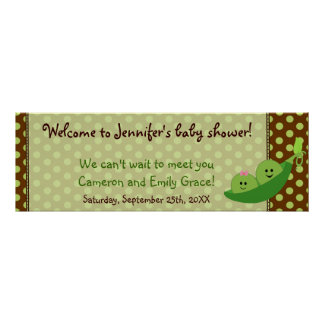 Boy Girl Twins Pea in a Pod Baby Shower Banner Poster