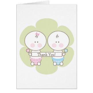 Boy & Girl Twins Thank You Card