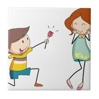 Boy giving flower to girlfriend ceramic tile
