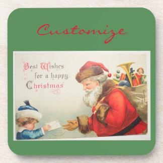 Boy giving letter to Santa  Thunder_Cove Vintage Coaster