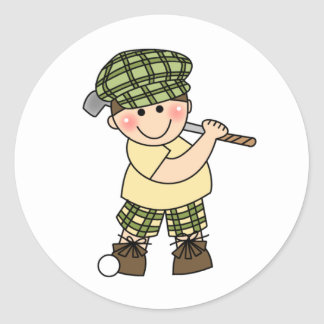Boy Golfer Classic Round Sticker