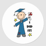 Boy Graduate Classic Round Sticker