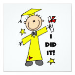 """Boy Graduate in Yellow Cap and Gown 5.25"""" Square Invitation Card"""