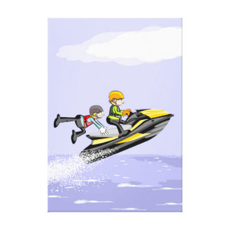 Boy hacindo its acrobatics in a jet ski canvas print