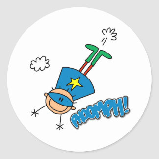 Boy Hero Flying Classic Round Sticker
