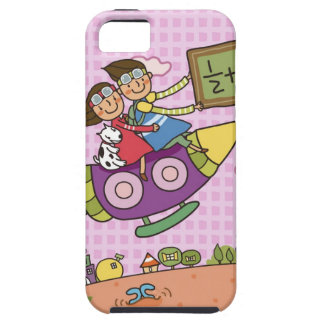 Boy holding a blackboard sitting with a girl on iPhone 5 case