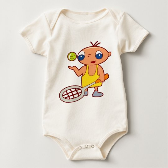 Boy holding a tennis racke baby bodysuit