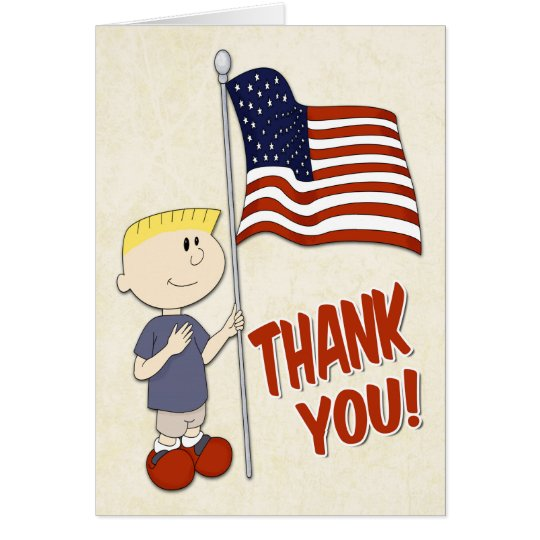 Boy Holding a United States Flag for Veterans Day Card