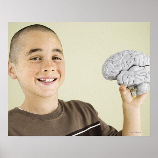 Boy holding human brain model posters