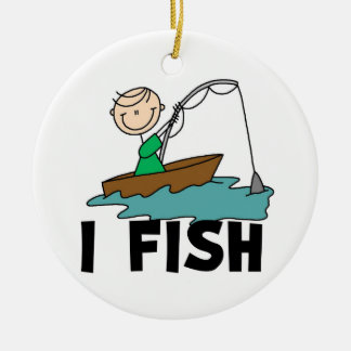 Boy I Fish Double-Sided Ceramic Round Christmas Ornament