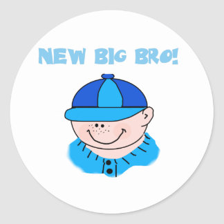 Boy in Baseball Cap New Big Bro Classic Round Sticker