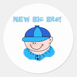 Boy in Baseball Cap New Big Bro Round Stickers