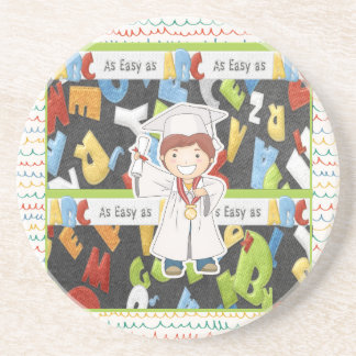 Boy in Cap and Gown with Diploma on ABC Background Coaster