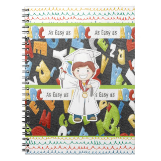 Boy in Cap and Gown with Diploma on ABC Background Notebook