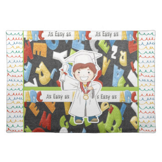 Boy in Cap and Gown with Diploma on ABC Background Placemat