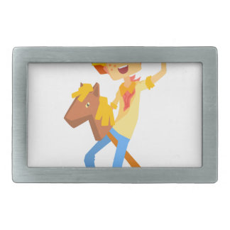 Boy In Cowboy Costume Riding Toy Horse Head On A S Belt Buckle