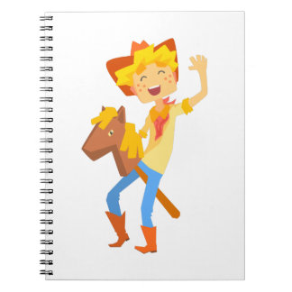 Boy In Cowboy Costume Riding Toy Horse Head On A S Notebooks