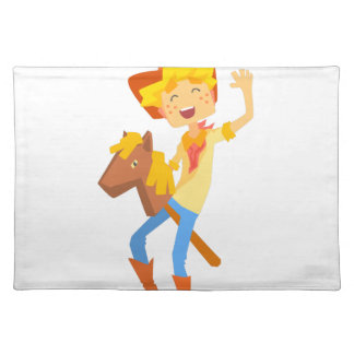 Boy In Cowboy Costume Riding Toy Horse Head On A S Placemat