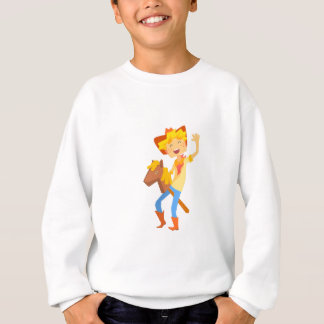 Boy In Cowboy Costume Riding Toy Horse Head On A S Sweatshirt