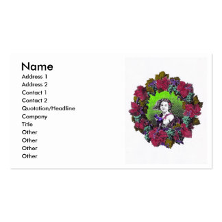 Boy in grape wreath, green grapes and purple business card templates