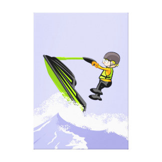 Boy in its jet ski giving a jump in a wave canvas print