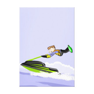 Boy in its jet velocidada ski flying to great canvas print