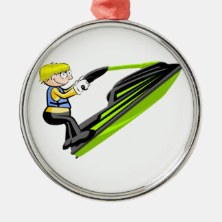 Boy in jey ski metal ornament