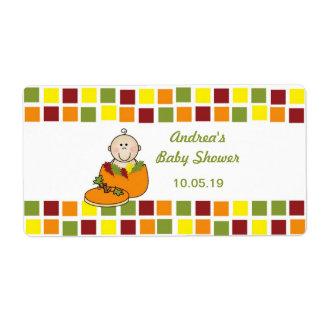 Boy in Pumpkin Baby Shower Water Bottle labels