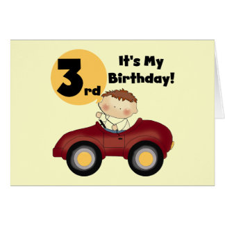 Boy in Red Car 3rd Birthday T-shirts and Gifts Card