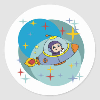 Boy in Spaceship Classic Round Sticker