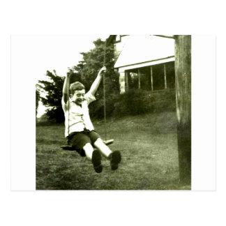 Boy In Swing Postcard