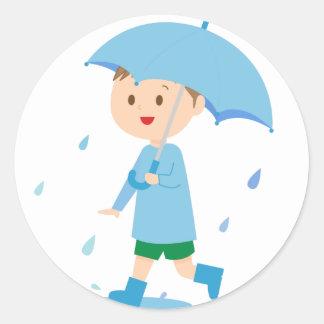 Boy in the Rain Classic Round Sticker