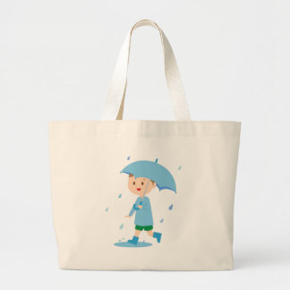 Boy in the Rain Large Tote Bag