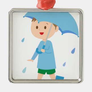 Boy in the Rain Metal Ornament