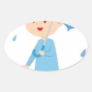 Boy in the Rain Oval Sticker