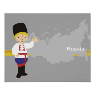 Boy in traditional Russian clothing in front of Poster