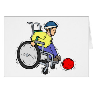 Boy in wheelchair with red ball. Cartoon Custom Card