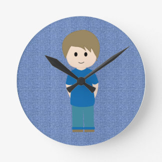 Boy inside Blue circle Round Clock