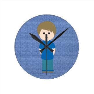 Boy inside Blue circle Wall Clock