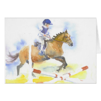 Boy jumping on his pony card