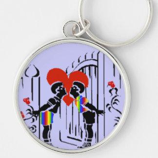 Boy Kissing Boy Silver-Colored Round Keychain